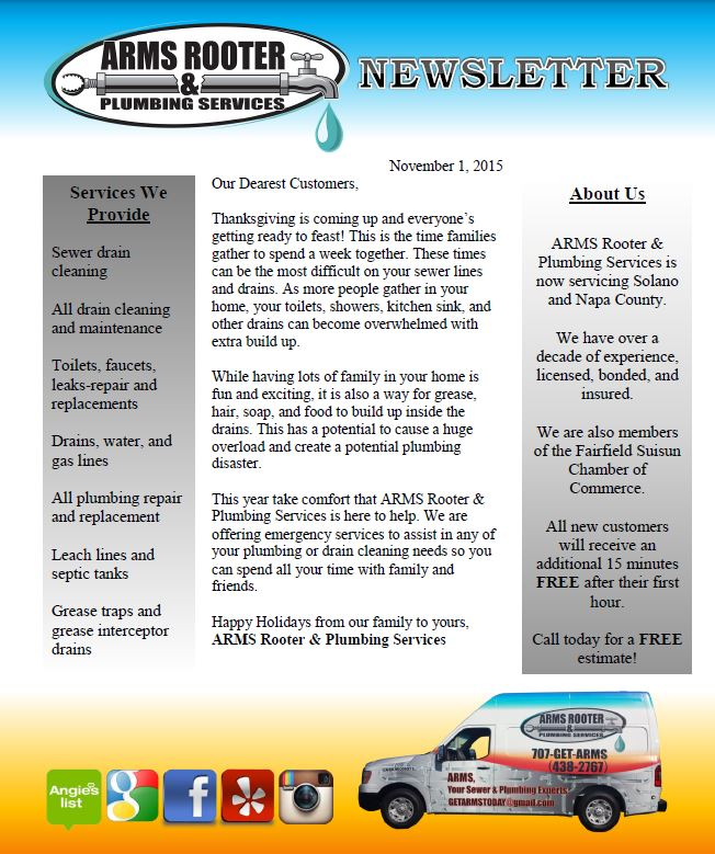 November 2015 Newsletter Arms Rooter Amp Plumbing Services